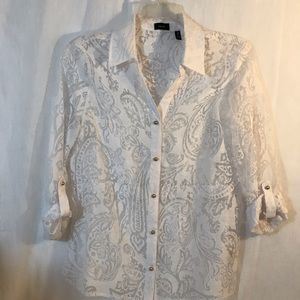 Rafaela White Sheer Blouse with Gold Buttons